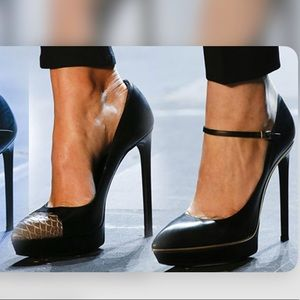 YSL Janis Mary Janes Black & Gold